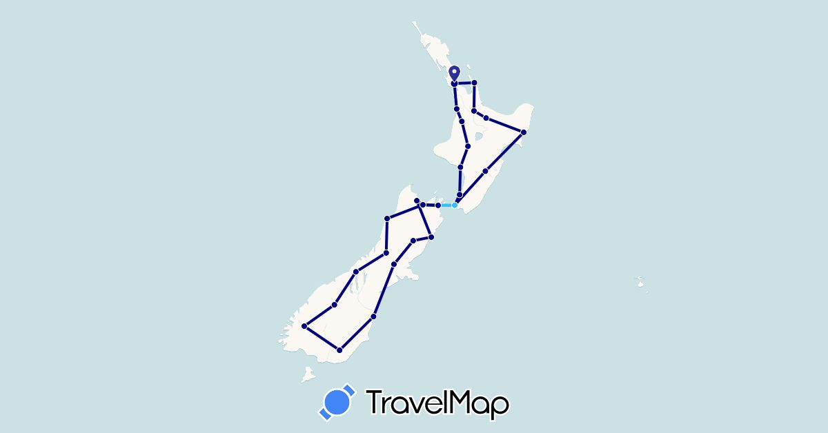 TravelMap itinerary: driving, boat in New Zealand (Oceania)